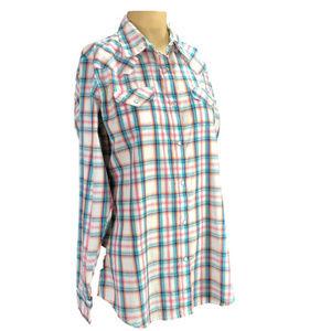 Wrangler Pink Plaid Pearl Snap Western Shirt L